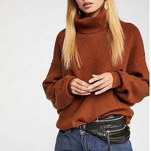 Free People Softly Structured Tunic Rust Sweater